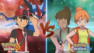 Pokemon Sun and Moon: Champion Ash Vs Brock and Misty