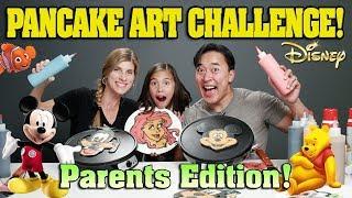 PANCAKE ART CHALLENGE - PARENTS EDITION!!! DISNEY CHARACTERS!