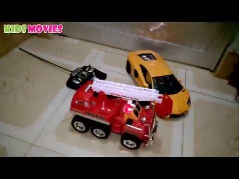 Xe ô tô cứu hỏa chữa cháy đồ chơi, пожарная машина, car toy fire fighting by Kid Rio