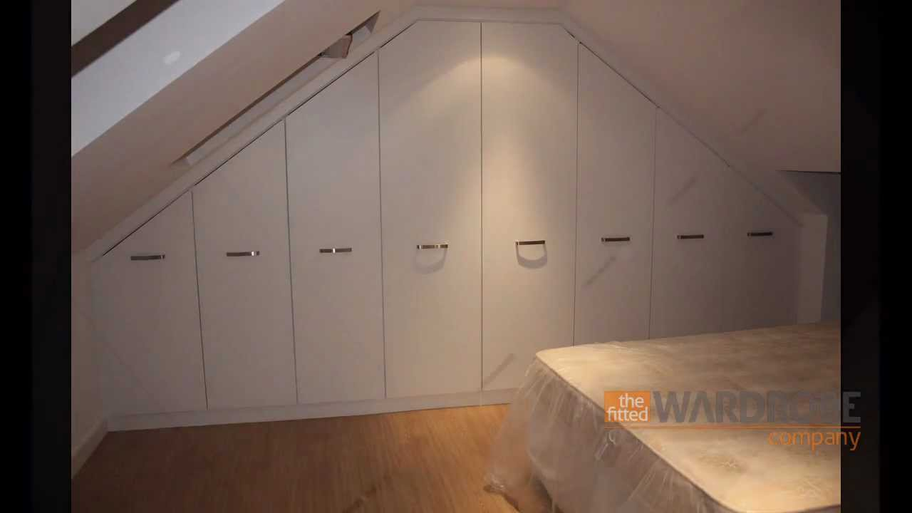 attic slanted roof closet ideas - Fitted Wardrobes Sloping Loft Room White Slab