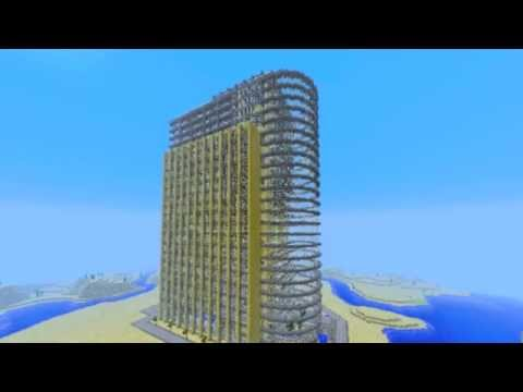 Minecraft: Beach Hotel, Downloadable version here: http://www.youtube.com/watch?v=9k3Rq7SRadU The skylimit got increased, so I decided to put it to a test. The building is 126 block...