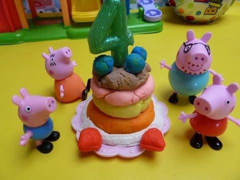 Sinh Nhật  Peppa Pig, làm  bánh kem (Playdoh), Elmo và những người bạn nhỏ (Bí Đỏ 2015)