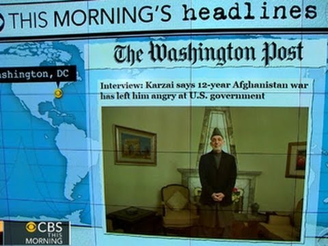 Headlines: Afghan President Karzai says war has left him angry with U.S. government