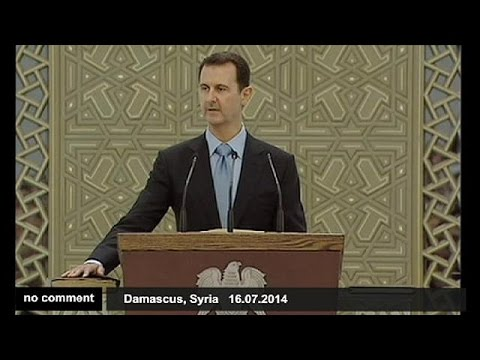 Syrian President Bashar al Assad is sworn in for a new seven-year term - no comment