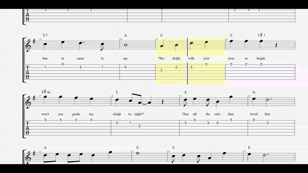 Guitar Tab - Guitar Chords - Rudolph the Red-Nosed Reindeer in G ...