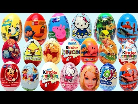 Surprise Eggs Kinder Surprise Cars 2 Thomas Spongebob Huevo kinder Sorpresa