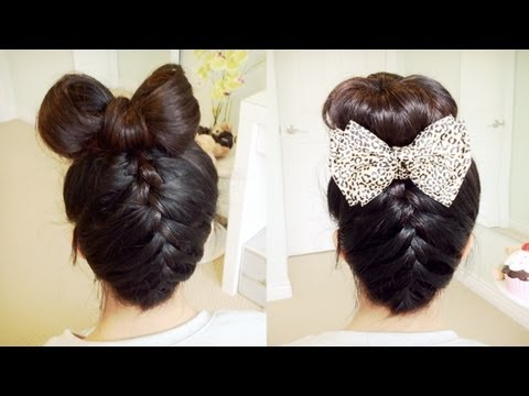 Upside Down French Braid Hair Bow + Sock Bun Updo Hair Tutorial - Bebexo