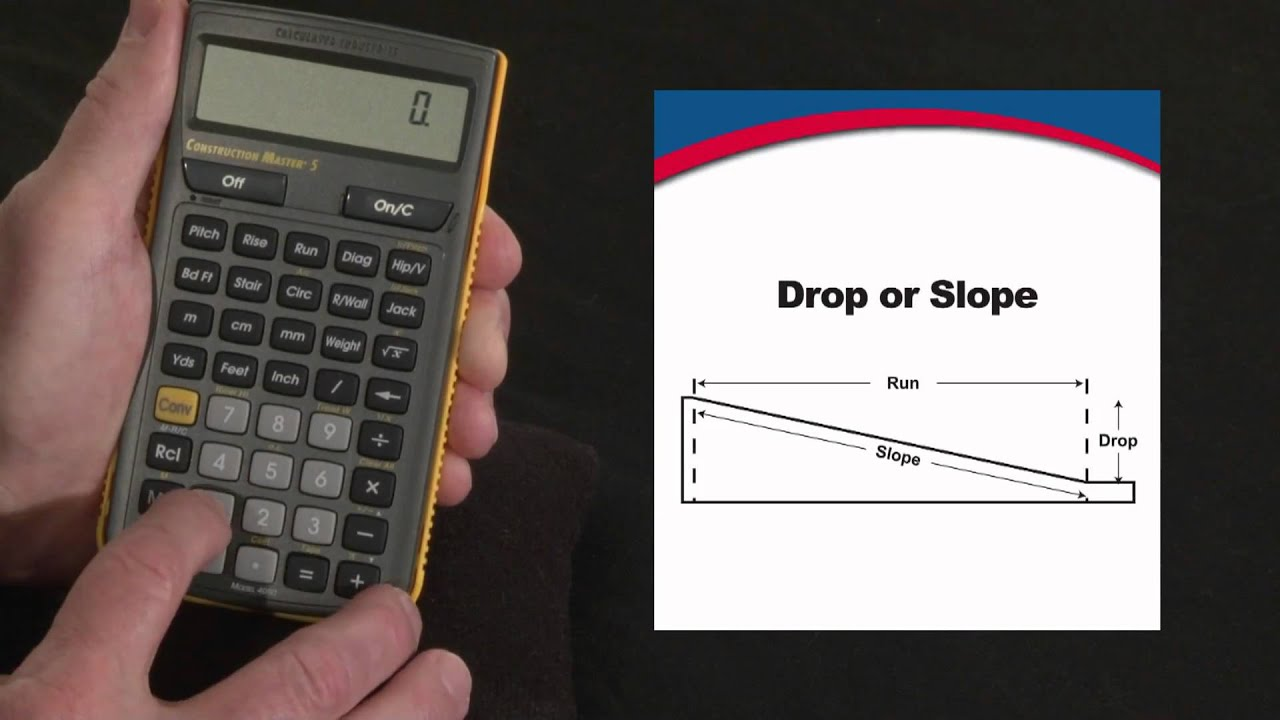Construction master 5 drop or slope calculations how to for Drainage slope calculator