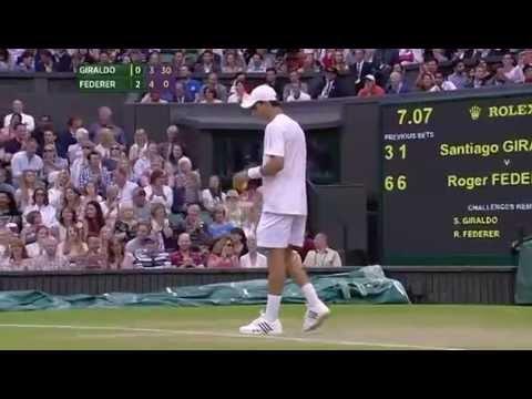 Giraldo toys with Federer - Wimbledon 2014