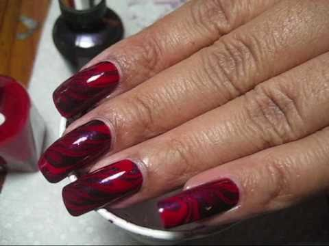 Red & Purple Water Marble Nail Art Tutorial - YouTube, More pics in this post: http://mysimplelittlepleasures.blogspot.com/2011/01/notd-red-purple-water-marble-tutorial.html Nail polish used: Sally Hansen Complet...