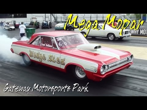 Mega Mopar - Huge Car Show Drag Racing Burnouts - Supercharged Action at Gateway MSP