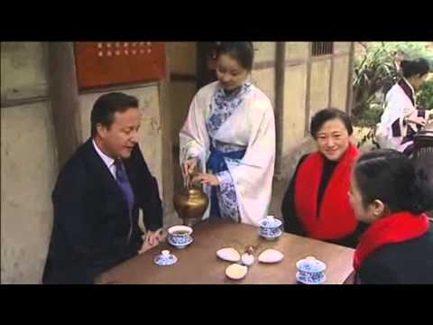 David Cameron Drinks Tea During Visit To Famed Chinese Poet's House