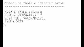 Base De Datos 05 Crear Una Tabla E Insertar Datos