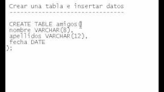 Base De Datos 05 Crear Una Tabla E Insertar Datos