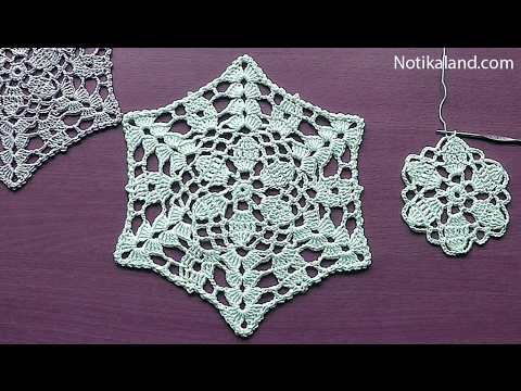 CROCHET Flower Pattern for Doily Tablecloth Blanket Motif Hexagon  Tutorial #3 Part 1