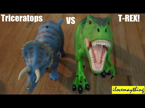 Dinosaur Toys: R/C T-Rex VS Triceratops Dinosaurs Unboxing & Playtime 2 of 2