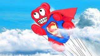 SUPERHERO. JELLY GUMMY BEAR GETS SUPERPOWERS !!!