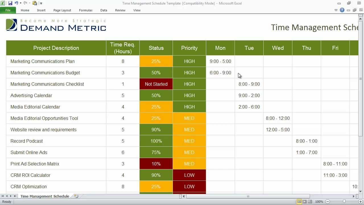 ... 19> Images For - Time Management Schedule Template Weekly