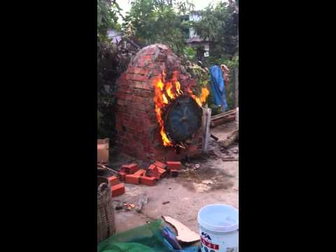 Home made charcoal kiln using indirect method