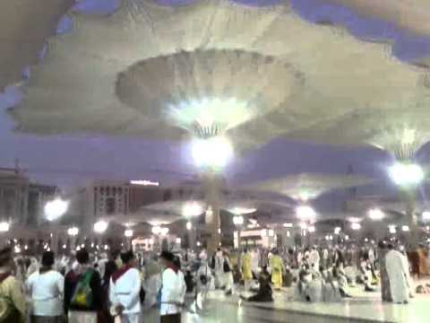 Opening of the giant umbrella's at Al Nabawi Mosque, Madina Sharif