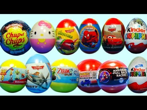 12 Surprise eggs! Kinder surprise SpongeBob Disney PLANES Cars HELLO KITTY Zelda Mario Spider Man!