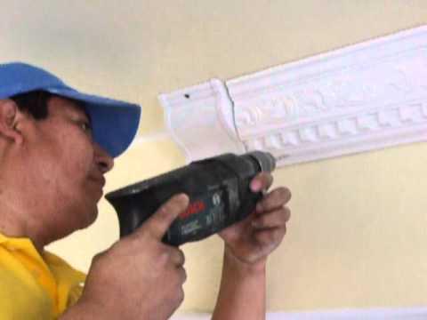 Instalacion de moldura de yeso youtube - Como poner molduras de escayola ...