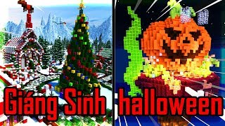 Thử Thách Xây Nhà HALLOWEEN VÀ GIÁNG SINH Nào Đẹp Nhất Trong Minecraft