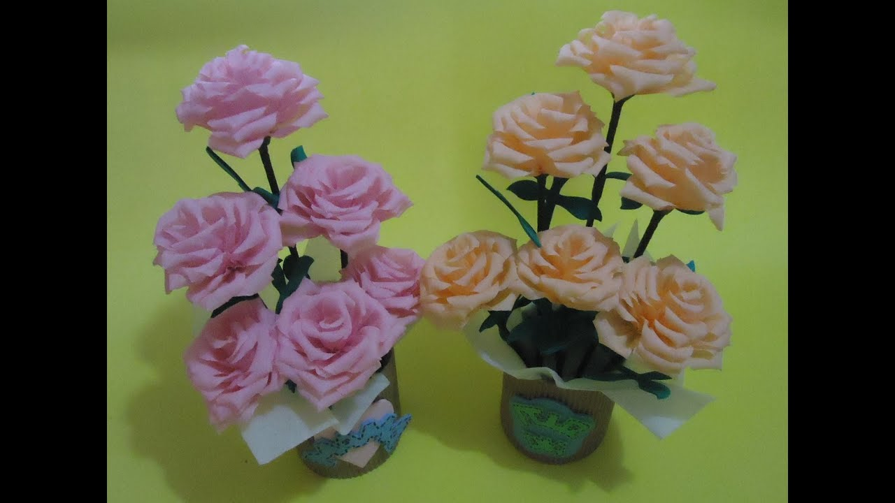 Arreglo floral con flores de papel - YouTube