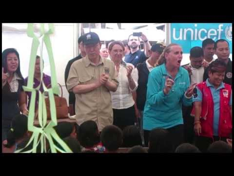 UN Secretary-General visits UNICEF-supported school in Tacloban