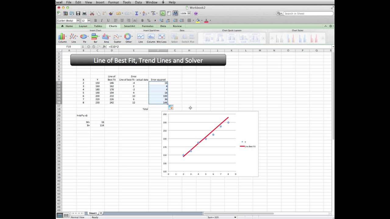 how to add best fit line in excel 2013