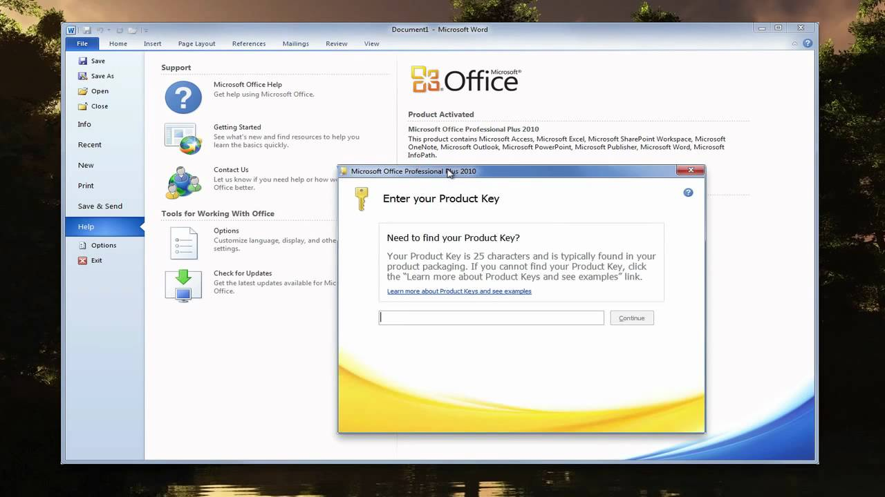how to get microsoft office product key 2010