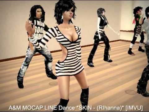 SKIN - Rihanna  [ IMVU 3D GROUP DANCE ], This is the dance animation demo for IMVU 3D game. Avialable in the Mocapdancer's IMVU catalog: http://www.imvu.com/shop/product.php?products_id=8501538 Soun...