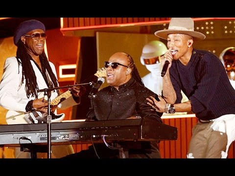 GRAMMY Awards 2014- Pharrell, Daft Punk, and STEVIE WONDER