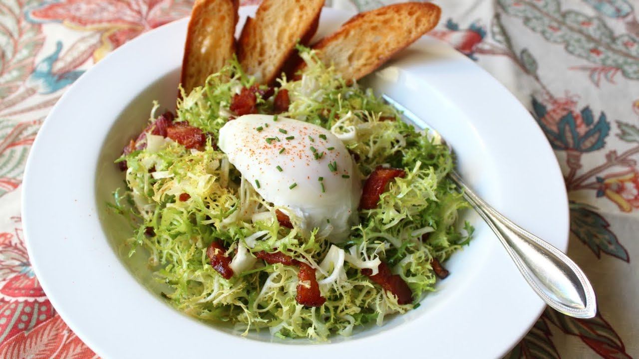Salad with Shallot Dijon Dressing, Bacon, and Poached Egg - YouTube ...