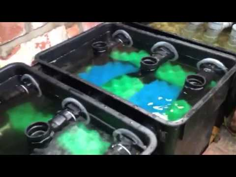 Home made pond filter system youtube for Homemade pond filter box