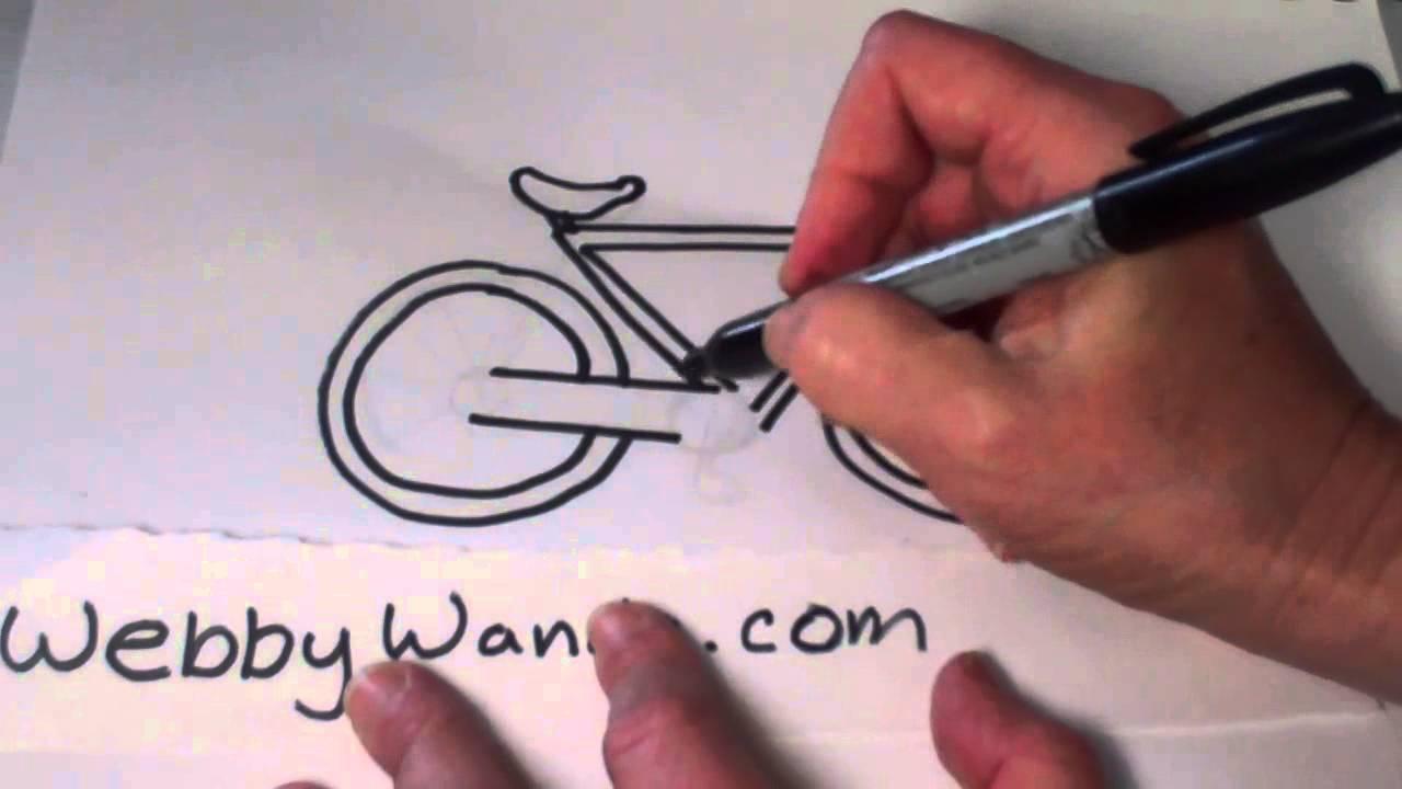 how to draw a cartoon motorbike step by step