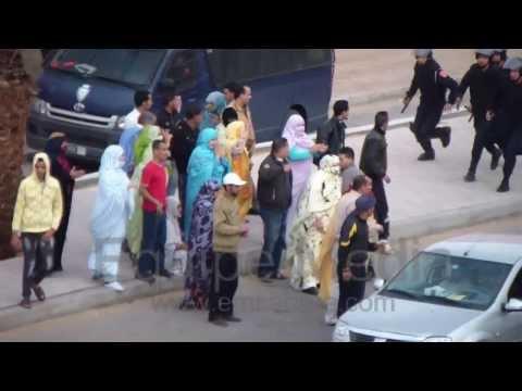 وحشية القمع الذي تعرض له المتظاهرون الصحراويون بشار ع السمارة 10/12/2013.