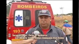 Eletricista tem perna esmagada por pedra em Po�os de Caldas