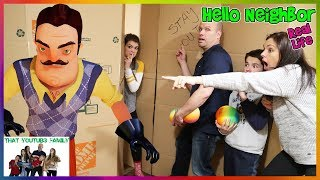 Hello Neighbor Real Life Statues In A Huge Box Fort Maze! / That YouTub3 Family