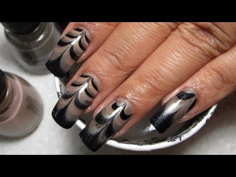 The Hunger Games Capitol Couture Water Marble Nail Art Tutorial