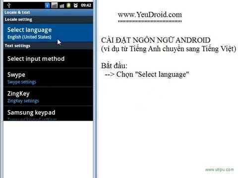 Cài đặt ngôn ngữ cho điện thoại thông minh Android