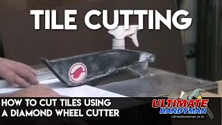 Cutting tiles on a tile saw