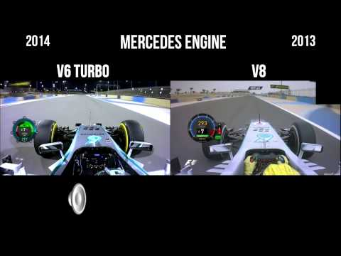 F1 V6 vs V8 Mercedes sound - Rosberg pole position Barhain