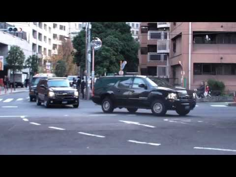 バイデン米国副大統領の車列 motorcade of Joe Biden  Vice President of the United States leaving Tokyo 2013