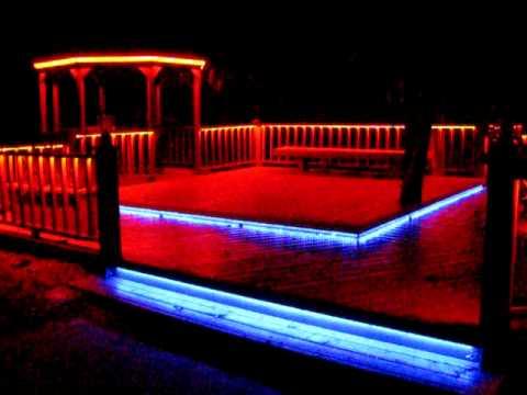 LED RGB Flex-Strip Rope Light under railing around deck, stair treads & gazebo - YouTube