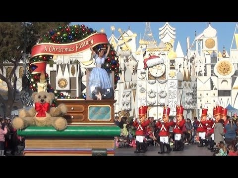 """A Christmas Fantasy"" Parade at Disneyland 2013 - Daytime With ""it's a small world"" Background"