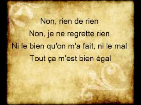 Edith Piaf - Non je ne regrette rien ( Paroles )