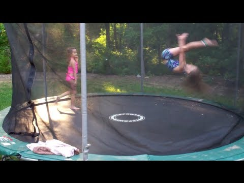 7 and 8 Year Old Gymnastics Tricks on Trampoline