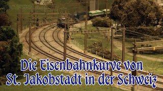 Modellbahn Eisenbahnkurve von St. Jakobstadt im Maßstab 1:87 in der Schweiz