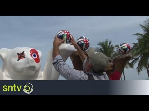 FIFA World Cup balls painted red in Rio protest